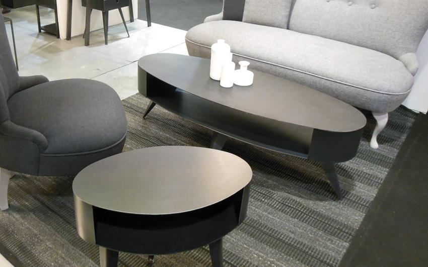 TABLE BASSE DESIGN OVALE EN MÉTAL (ACIER BRUT) SUR MESURE.