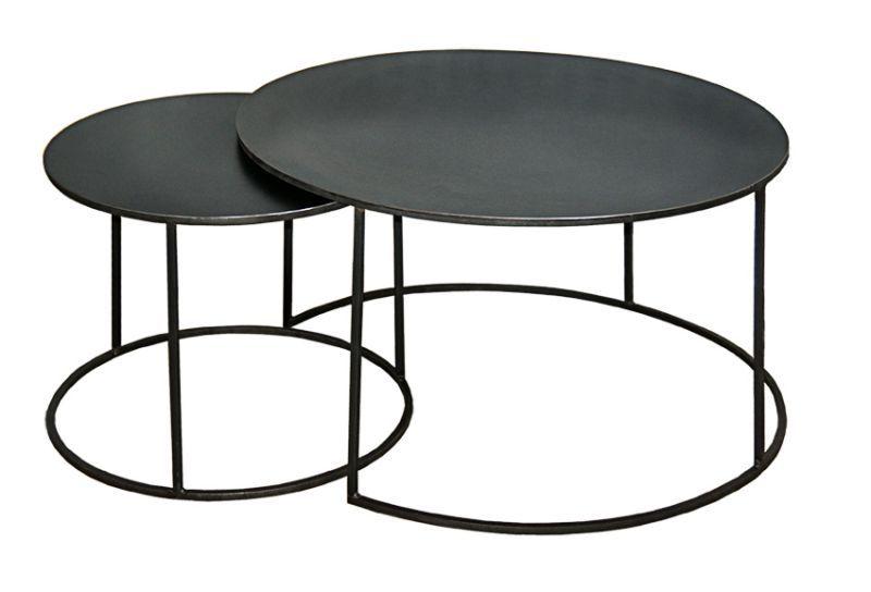 SET 2 TABLES GIGOGNES RONDES MÉTAL THERMOLAQUÉ STYLE INDUSTRIEL SUR MESURE
