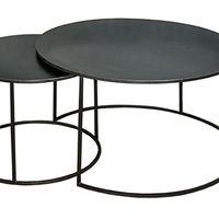 SET 2 TABLES GIGOGNES RONDES MÉTAL (ACIER BRUT) STYLE LOFT INDUSTRIEL
