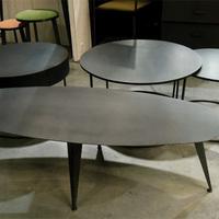 TABLE BASSE OVALE EN MÉTAL (ACIER BRUT) SUR MESURE STYLE INDUS