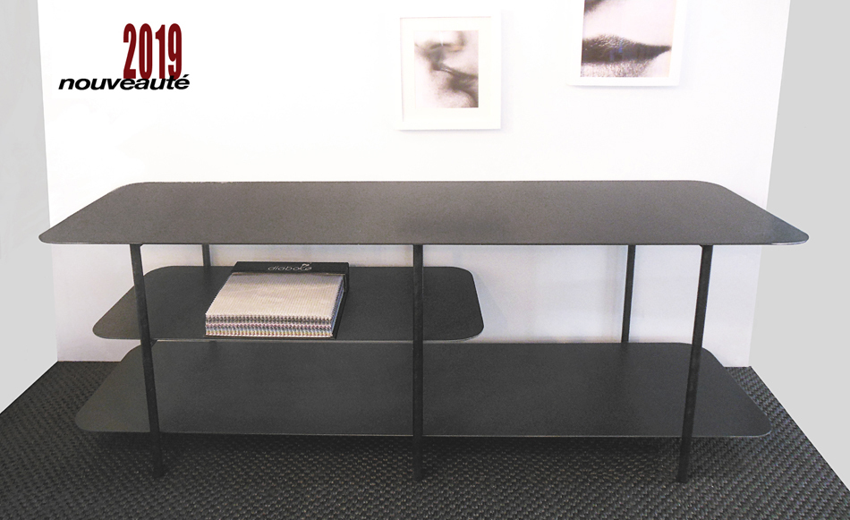 TABLE BASSE DESIGN MÉTAL (ACIER BRUT) TRIPLE PLATEAU DE STYLE INDUSTRIEL SUR MESURE.