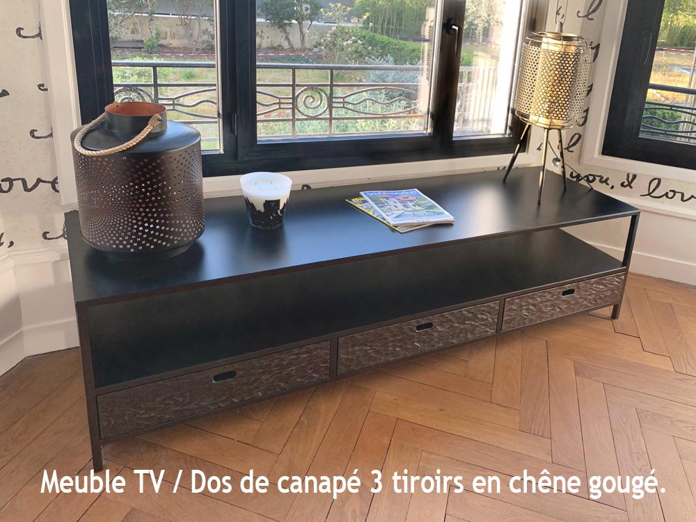 MEUBLE TV / DOS DE CANAPÉ MÉTAL (ACIER BRUT) & BOIS 3 TIROIRS DE STYLE LOFT INDUSTRIEL SUR MESURE.