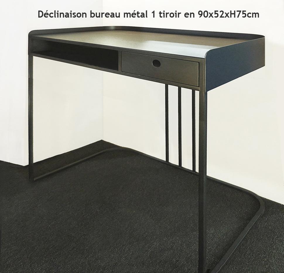 BUREAU DESIGN MÉTAL (ACIER BRUT) 1 TIROIR STYLE INDUSTRIEL-SUR MESURE.