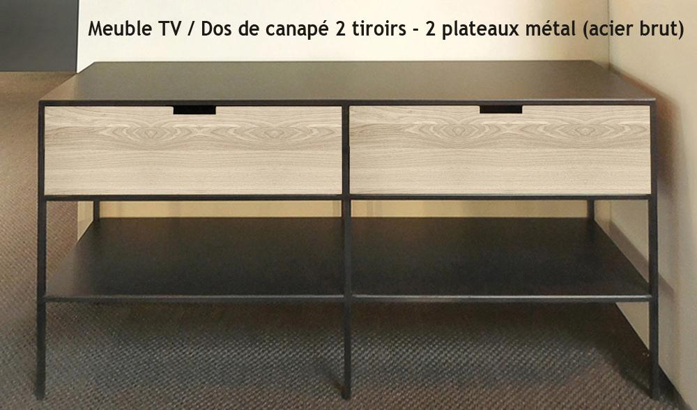 DOS DE CANAPÉ / MEUBLE TV MÉTAL & BOIS - 2 TIROIRS DE STYLE LOFT INDUSTRIEL SUR MESURE